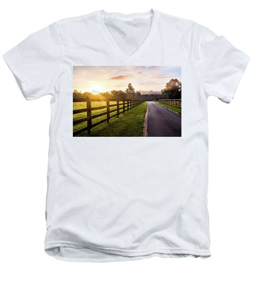 Men's V-Neck T-Shirt featuring the photograph Colorful Palette At Sunrise by Shelby Young