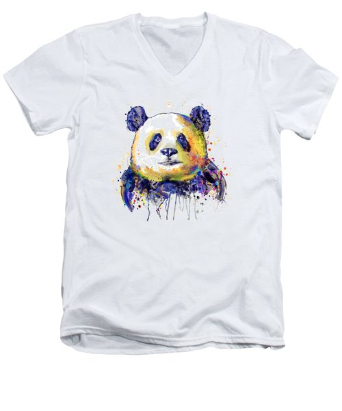 Men's V-Neck T-Shirt featuring the mixed media Colorful Panda Head by Marian Voicu