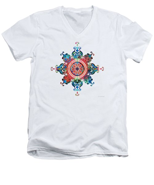 Men's V-Neck T-Shirt featuring the painting Colorful Pattern Art - Color Fusion Design 3 By Sharon Cummings by Sharon Cummings