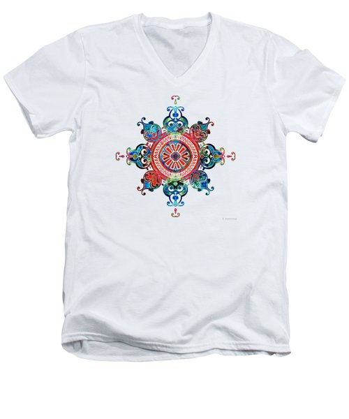 Colorful Pattern Art - Color Fusion Design 3 By Sharon Cummings Men's V-Neck T-Shirt