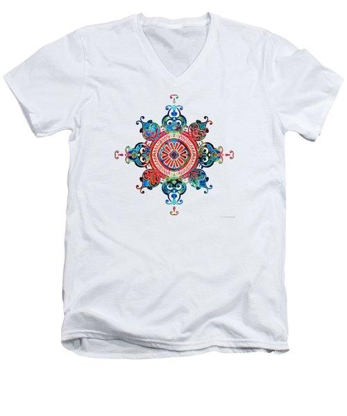 Colorful Pattern Art - Color Fusion Design 3 By Sharon Cummings Men's V-Neck T-Shirt