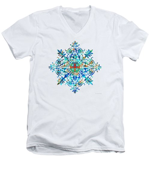 Colorful Pattern Art - Color Fusion Design 5 By Sharon Cummings Men's V-Neck T-Shirt