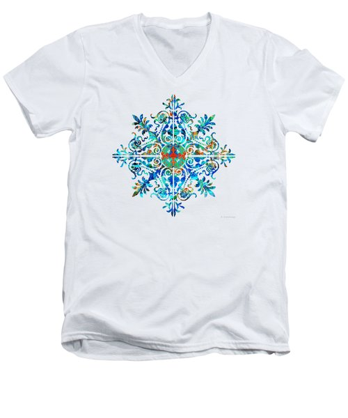 Colorful Pattern Art - Color Fusion Design 5 By Sharon Cummings Men's V-Neck T-Shirt