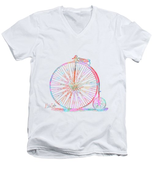 Colorful Penny-farthing 1867 High Wheeler Bicycle Men's V-Neck T-Shirt