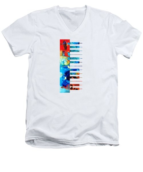 Men's V-Neck T-Shirt featuring the painting Colorful Piano Art By Sharon Cummings by Sharon Cummings