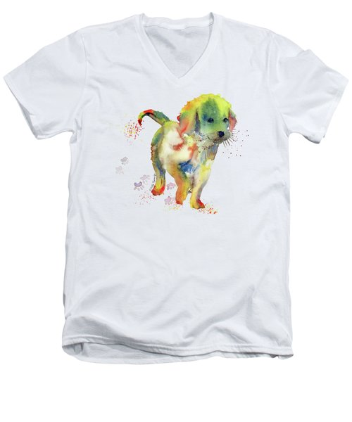Colorful Puppy Watercolor - Little Friend Men's V-Neck T-Shirt by Melly Terpening