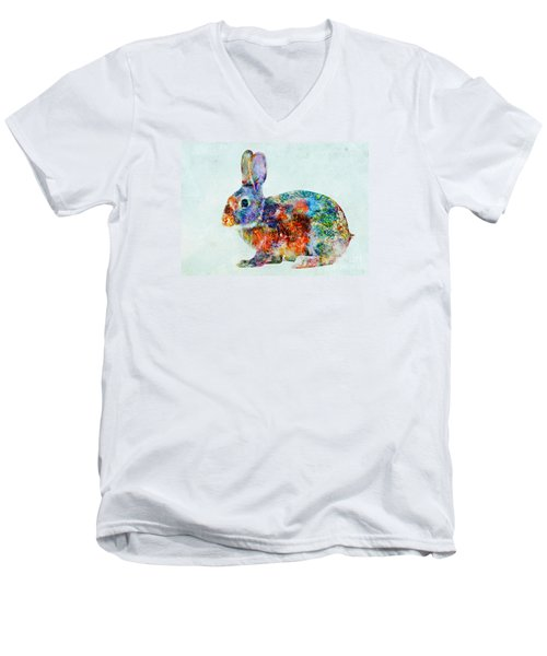 Colorful Rabbit Art Men's V-Neck T-Shirt by Olga Hamilton
