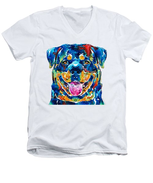 Men's V-Neck T-Shirt featuring the painting Colorful Rottie Art - Rottweiler By Sharon Cummings by Sharon Cummings