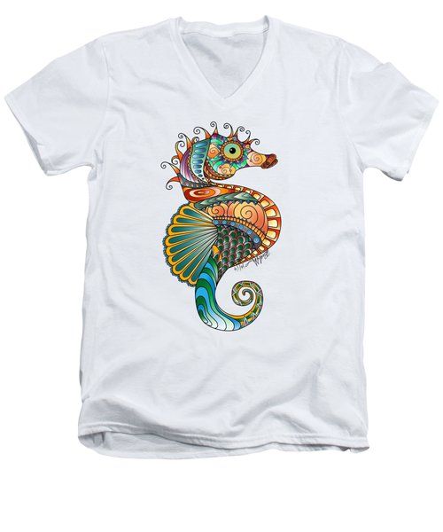 Colorful Seahorse Men's V-Neck T-Shirt