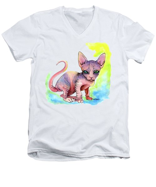 Colorful Sphynx Men's V-Neck T-Shirt by Akiko Okabe