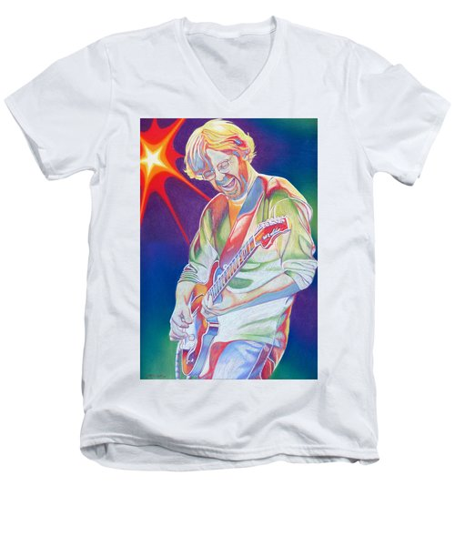 Colorful Trey Anastasio Men's V-Neck T-Shirt by Joshua Morton