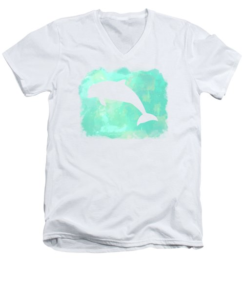 Colorful Watercolor Dolphin Sea Life Coastal Art Men's V-Neck T-Shirt