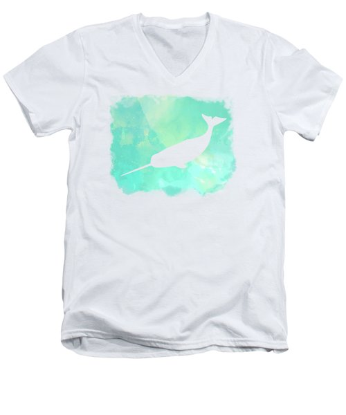 Colorful Watercolor Narwhal Sea Life Coastal Art Men's V-Neck T-Shirt