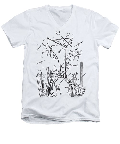 Coloring Page With Beautiful City Martini Drawing By Megan Duncanson Men's V-Neck T-Shirt by Megan Duncanson