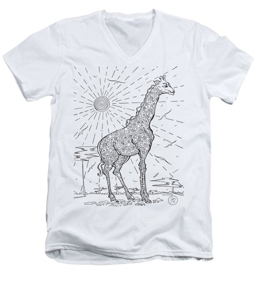 Coloring Page With Beautiful Giraffe Drawing By Megan Duncanson Men's V-Neck T-Shirt