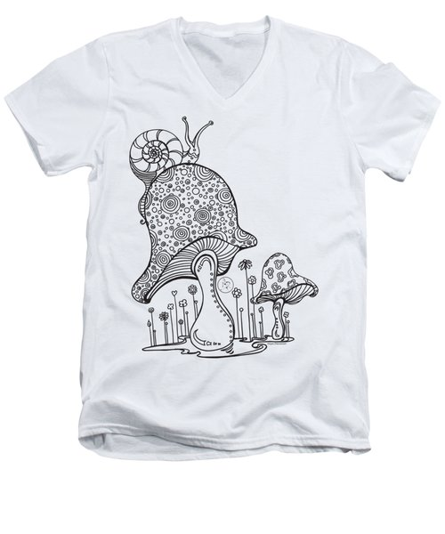 Coloring Page With Beautiful Mushroom And Snail Drawing By Megan Duncanson Men's V-Neck T-Shirt by Megan Duncanson