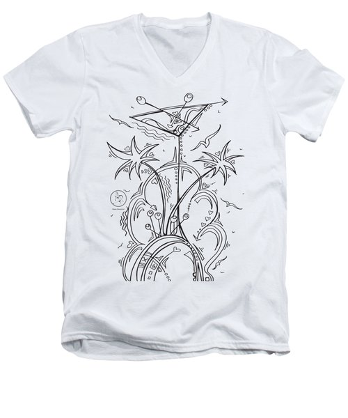 Coloring Page With Beautiful Tropical Martini Drawing By Megan Duncanson Men's V-Neck T-Shirt by Megan Duncanson
