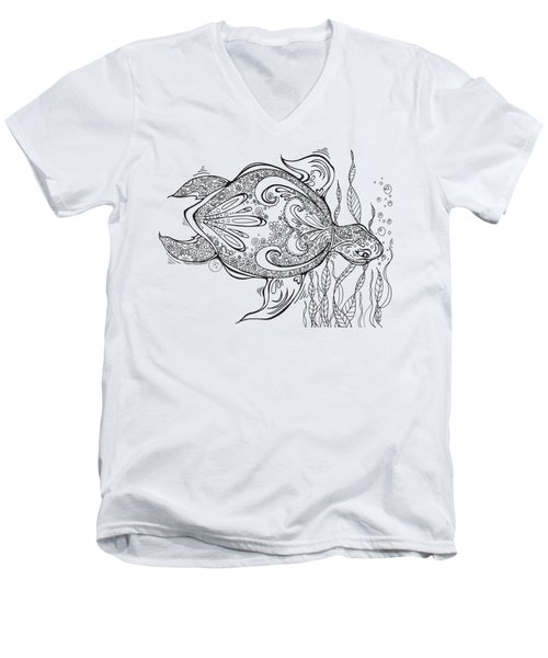 Coloring Page With Beautiful Turtle Drawing By Megan Duncanson Men's V-Neck T-Shirt by Megan Duncanson