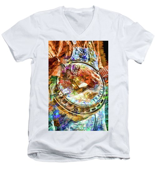 Colors Of A Banjo Busker Men's V-Neck T-Shirt by John Haldane