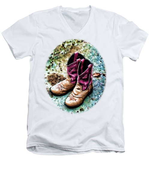 Colors Of A Cowgirl Oval White Men's V-Neck T-Shirt