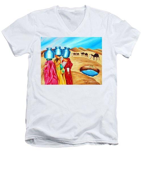 Colour Of Oasis Men's V-Neck T-Shirt by Ragunath Venkatraman