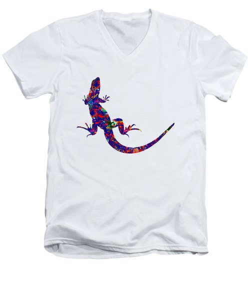 Colourful Lizard Men's V-Neck T-Shirt by Bamalam  Photography