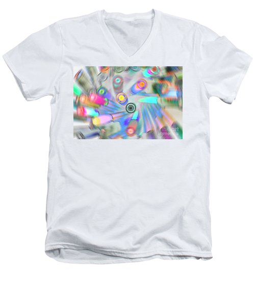Men's V-Neck T-Shirt featuring the digital art Colourful Pens by Wendy Wilton