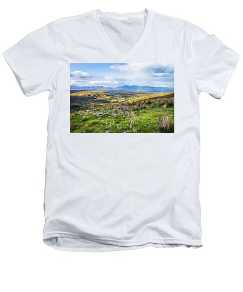 Men's V-Neck T-Shirt featuring the photograph Colourful Undulating Irish Landscape In Kerry  by Semmick Photo