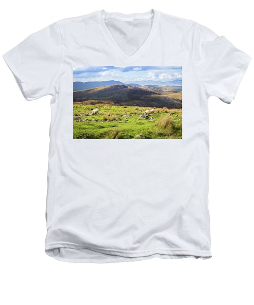 Men's V-Neck T-Shirt featuring the photograph Colourful Undulating Irish Landscape In Kerry With Grazing Sheep by Semmick Photo
