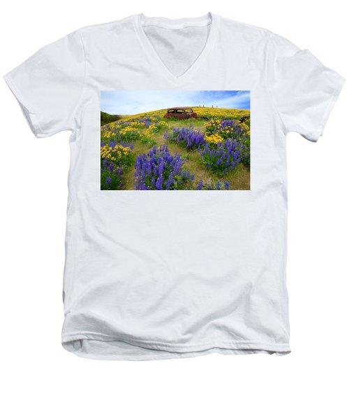 Columbia Hills Wildflowers Men's V-Neck T-Shirt by Lynn Hopwood