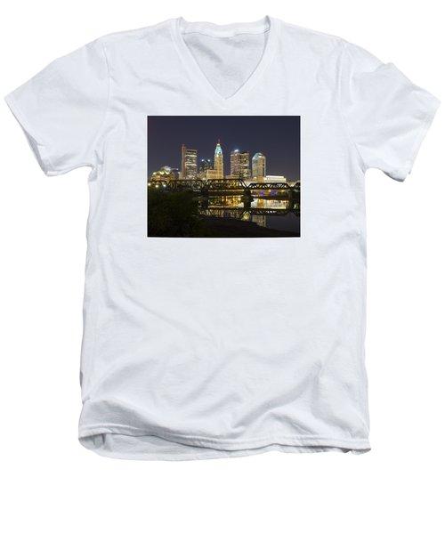 Columbus Skyline 2 Men's V-Neck T-Shirt by Alan Raasch
