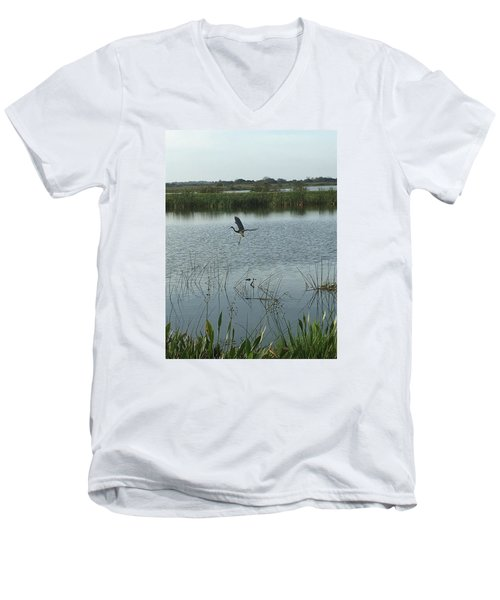 Men's V-Neck T-Shirt featuring the photograph Coming In For A Landing by Kay Gilley