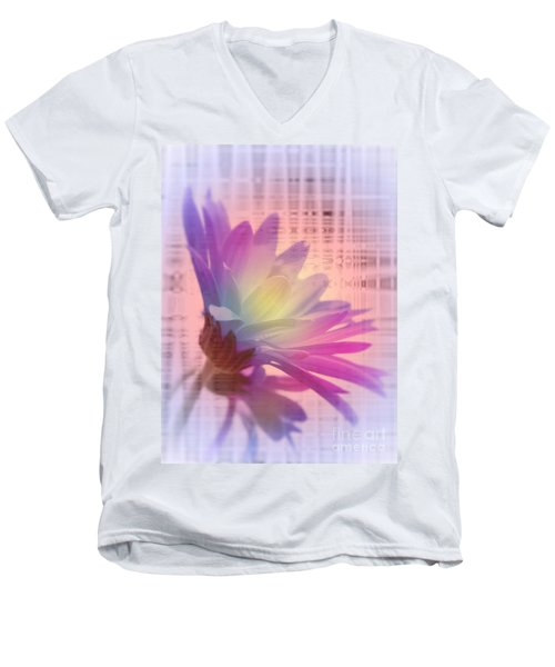 Men's V-Neck T-Shirt featuring the photograph Coming To Life Love Notes Mirror by Cathy  Beharriell