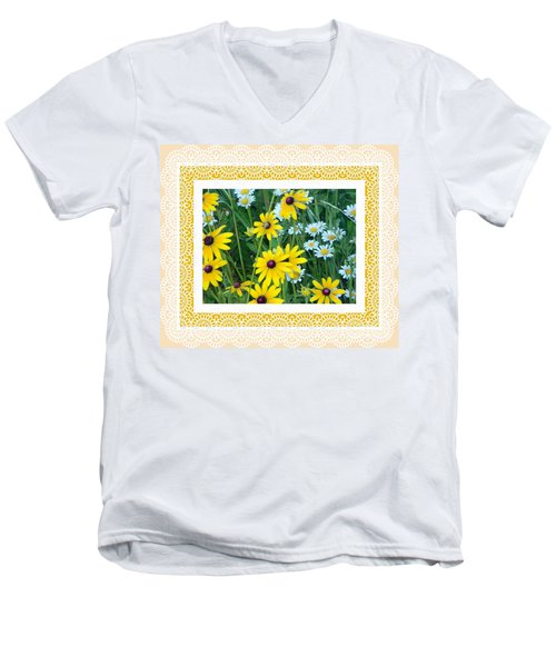 Coming Up Daisies Orange Men's V-Neck T-Shirt