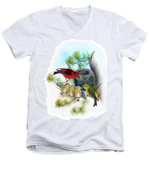 Common Crossbill Antique Bird Print John Gould Hc Richter Birds Of Great Britain  Men's V-Neck T-Shirt by Orchard Arts