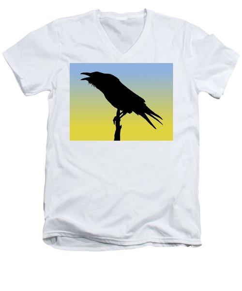 Common Raven Silhouette At Sunrise Men's V-Neck T-Shirt