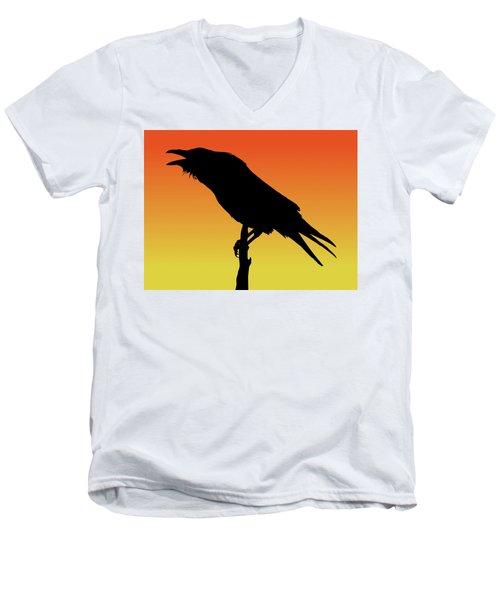 Common Raven Silhouette At Sunset Men's V-Neck T-Shirt