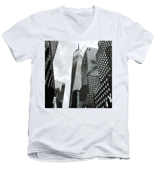 Commuters' View Of 1 World Trade Center Men's V-Neck T-Shirt