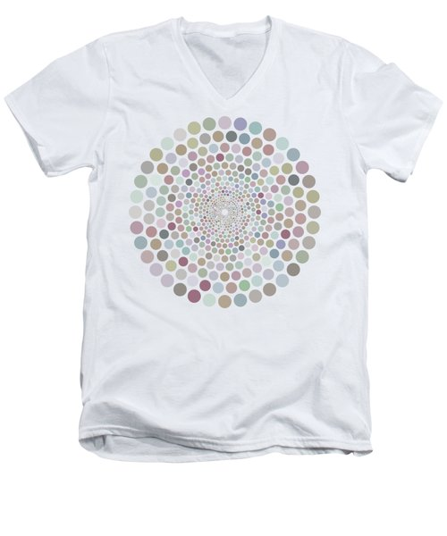 Men's V-Neck T-Shirt featuring the painting Vortex Circle - White by Hailey E Herrera