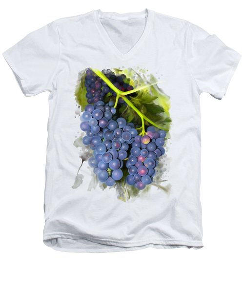 Men's V-Neck T-Shirt featuring the painting Concord Grape by Ivana Westin