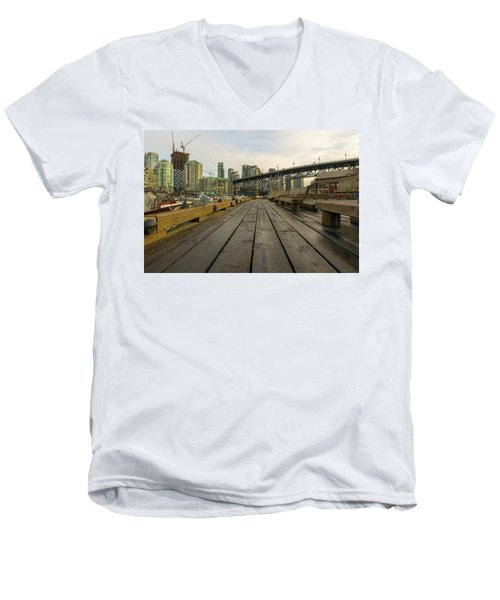 Condominium Buildings Along Granville Island Vancouver Bc Men's V-Neck T-Shirt