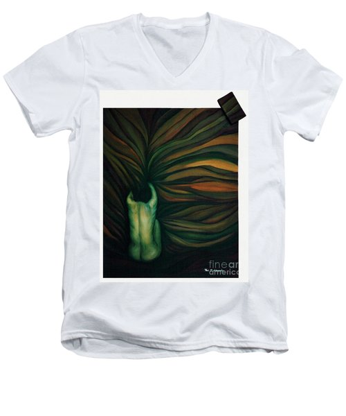 Men's V-Neck T-Shirt featuring the painting Confused by Fei A