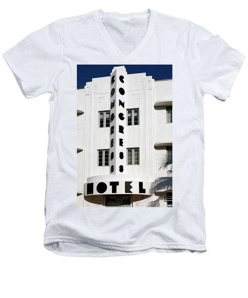 Congress Hotel. Miami. Fl. Usa Men's V-Neck T-Shirt