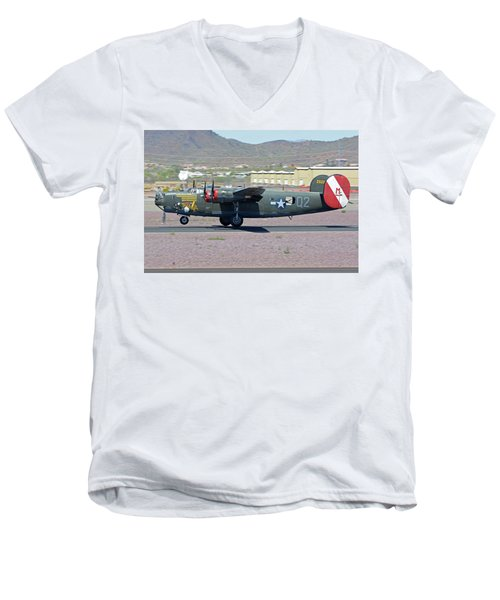 Men's V-Neck T-Shirt featuring the photograph Consolidated B-24j Liberator N224j Witchcraft Deer Valley Arizona April 13 2016 by Brian Lockett