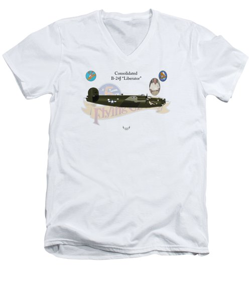Consolidated, B-24j, Liberator, Rough Night Men's V-Neck T-Shirt by Arthur Eggers