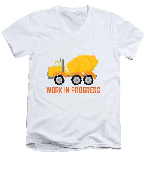 Construction Zone - Concrete Truck Work In Progress Gifts - White Background Men's V-Neck T-Shirt