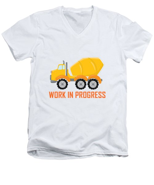 Construction Zone - Concrete Truck Work In Progress Gifts - Yellow Background Men's V-Neck T-Shirt