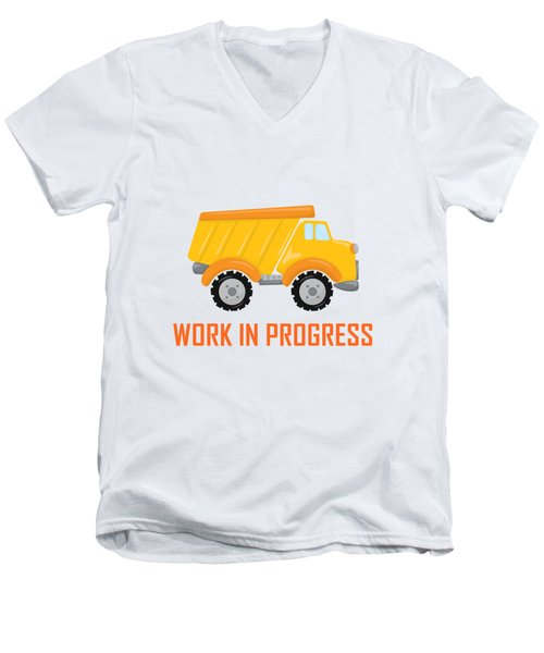 Construction Zone - Dump Truck Work In Progress Gifts - Yellow Background Men's V-Neck T-Shirt