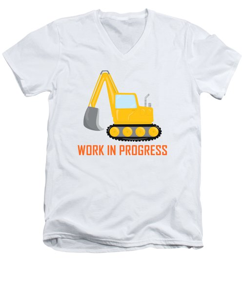 Construction Zone - Excavator Work In Progress Gifts - Yellow Background Men's V-Neck T-Shirt