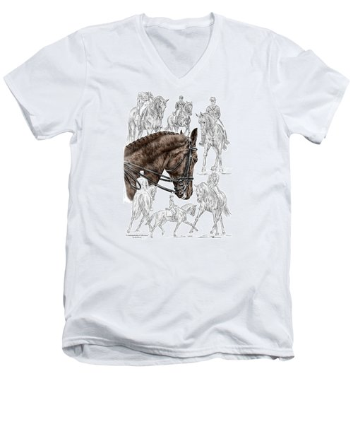 Men's V-Neck T-Shirt featuring the drawing Contemplating Collection - Dressage Horse Print Color Tinted by Kelli Swan